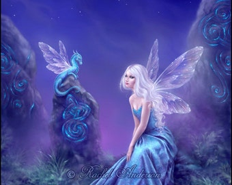 Luminescent Dragon & Fairy Art - Painting by Rachel Anderson