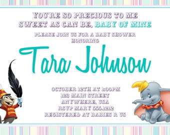 Dumbo Baby Shower Invitation- Baby of Mine Baby Shower Invitations - Printable Photo Card, Digital File