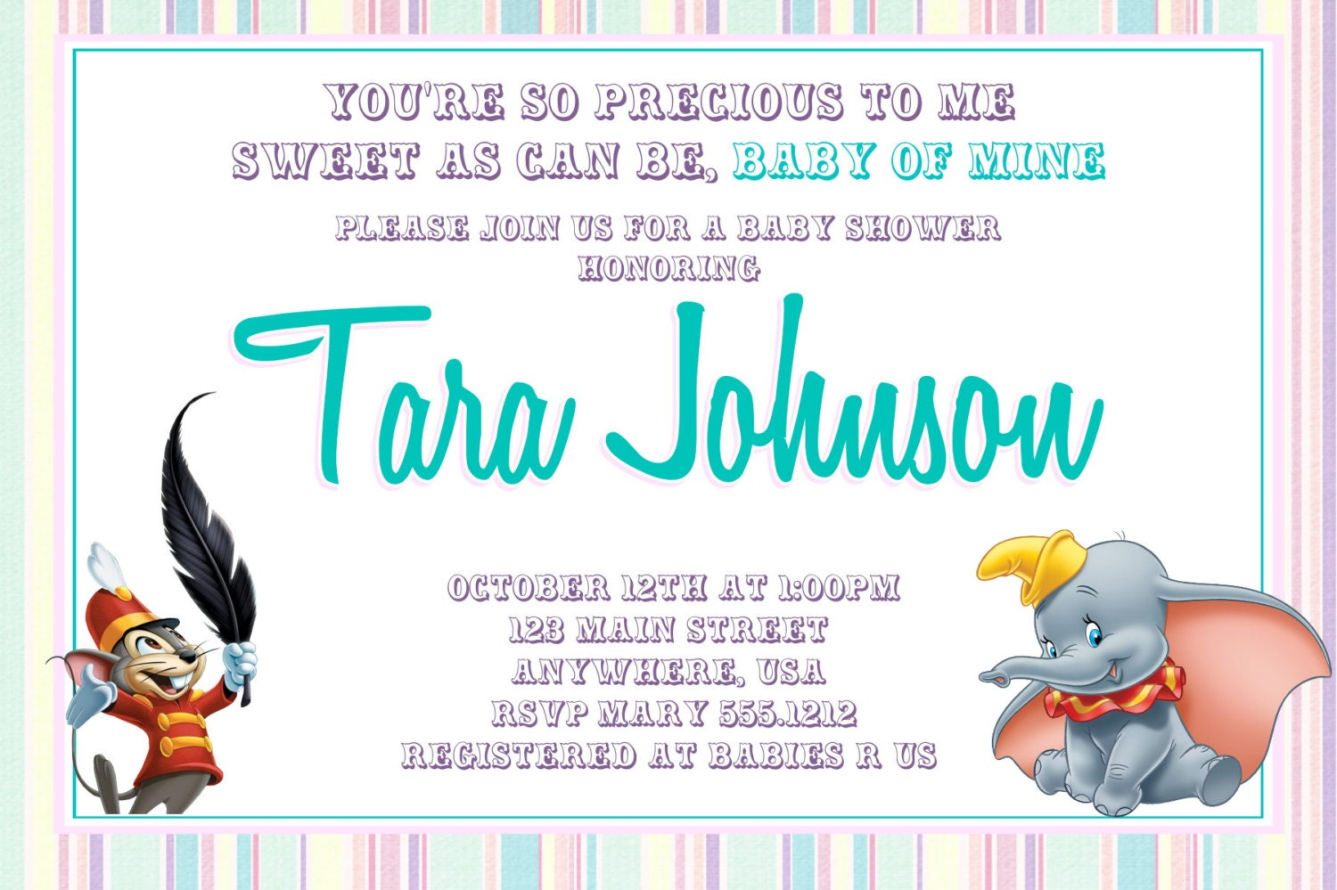 dumbo baby shower invitation baby of mine baby shower