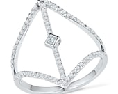 Diamond Bar Ring With 2/5 CT. T.W. Diamond, White Gold Bar Ring or Unique Sterling Silver Ring For Women