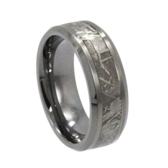 Tungsten Ring Gibeon Meteorite Inlay, Unique Mens Ring