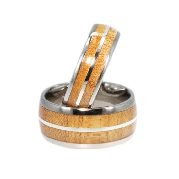 Maple Wood Ring Set, Titanium Bands, Sterling Silver Pinstripe, Ring Armor Included