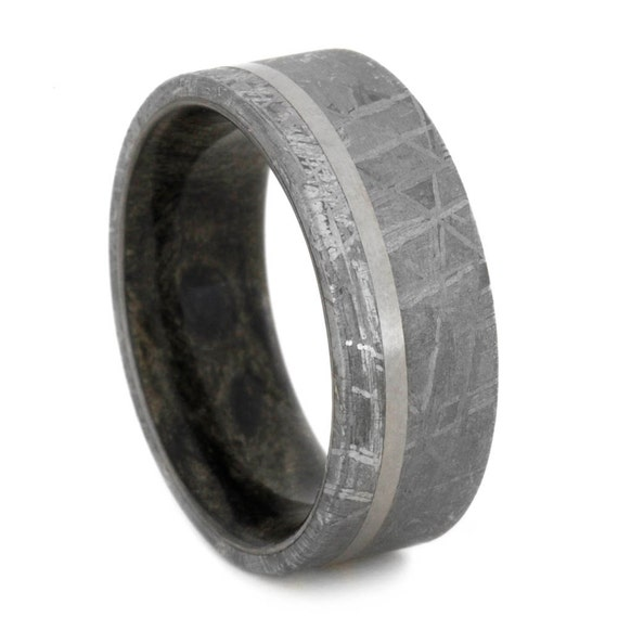 mens meteorite wedding band with offset titanium by