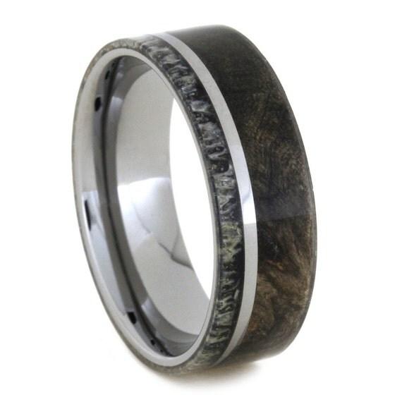 mens wood ring with deer antler tungsten wedding by. Black Bedroom Furniture Sets. Home Design Ideas