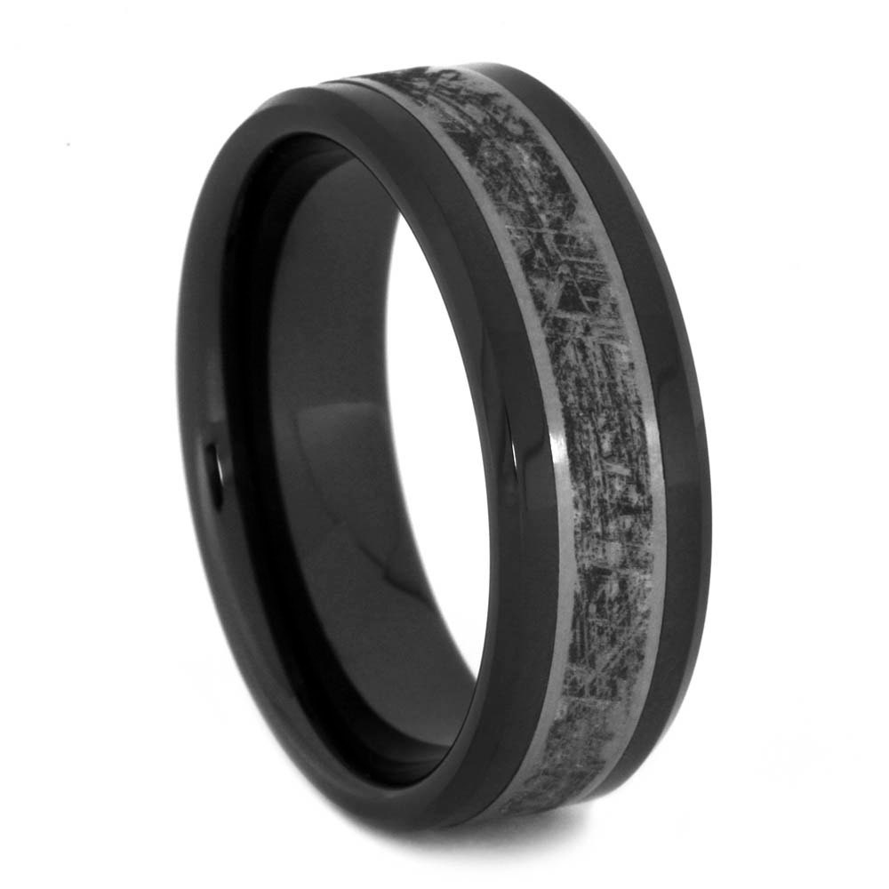 Black Ceramic Wedding Band Titanium Ring With By