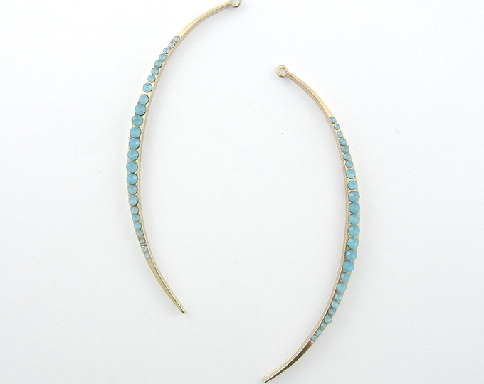 Pair of Long Slim Crescent Gold-tone Frosted Blue Cabochon Encrusted Charms