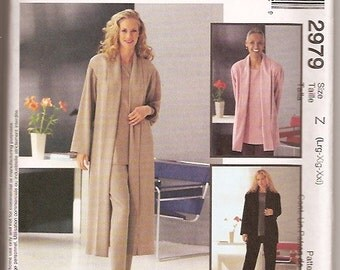 McCall's 2979 Plus Jacket Duster Top Pants Sewing Pattern Size 16 18 20 22 24 26 UNCUT
