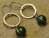 Green Jade Hammered Sterling Silver Circle Dangle Earrings