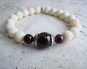 Garnet Bracelet, White Coral, Birthstone Bracelet, Stacking Bracelet, Boho Bracelet, Gift For Her, January Birthday, Yoga Bracelet