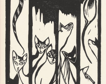 Siamese Cat Art, Black Cat Wall Decor, Original Art Blockprint, Quirky Cat Art Whimsical Cat Art Funny Cat Art Original Printmaking kaslkaos