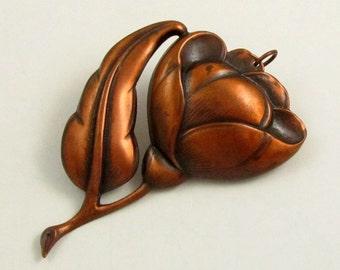 Extra Large Copper Flower Pendant, Vintage