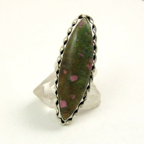 Vintage Long Marquise Anyolite Ruby Zoisite Cocktail Ring