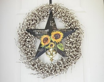 Cream Berry Wreath - Black Sunflower Star Wreath - Fall Grapevine Wreath - Sunflower Star Wreath - Fall berry wreath  -  front door decor