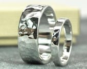 Hammered Silver Ring Set, Hand Forged Wedding Bands, Unisex Rings, Affordable, Sea Babe Jewelry
