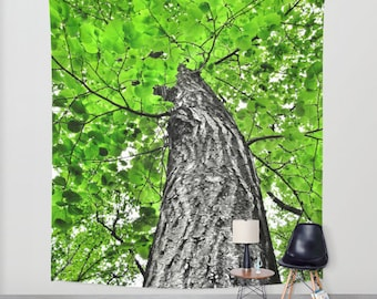 Tree Wall Tapestry, Green Large Size Wall Art, Nature Decor, Fresh Tapestry, Woods Tapestry, Dorm Art, Green Tapestry, Forest Tapestry