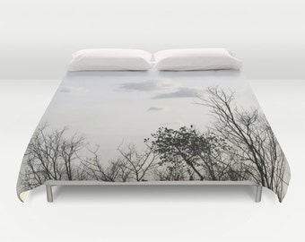 Trees Duvet Cover, Decorative bedding, Trees Bedding, Cloudy sky, Nature bedding, bedroom blanket, Goth, Gothic, Woods Bedding, Branches