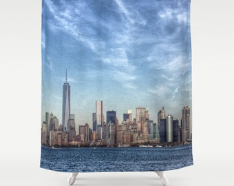 New York Manhattan Shower Curtain, Landscape, Urban, Bathroom, Modern, Home Decor, Photography, City Shower Curtain, Manhattan Decor, Sky
