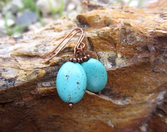 Magnesite and copper earrings