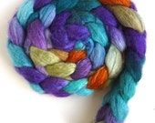 Blueface Leicester/ Tussah Silk Roving (Top) - Handpainted Spinning or Felting Fiber,  Laundry Pile