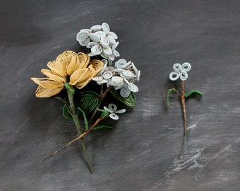 Vintage Glass Seed Bead Florist Picks, Mid Century Flowers, Glass Beaded Supplies, Daisy Rose Hydrangea