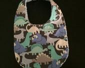 blue dinos baby fashion drool bibs bandana dinosaurs snap closure