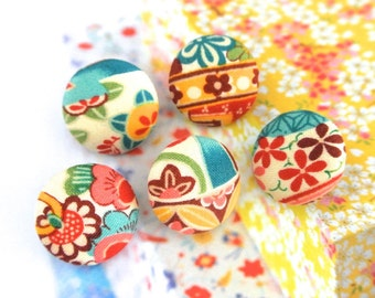 Rich Blue Pink Red Japanese Flower Floral Blossom Fabric Covered Buttons, Small Japanese Floral Fridge Magnets, 1 Inch 5's