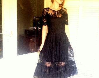 Victorian black lace dress