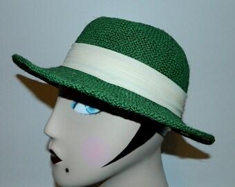 vintage straw hat 1980s / bright green fedora Betmar sun hat