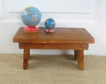 Vintage Primitive Wood Stool Bench Ottoman Rustic