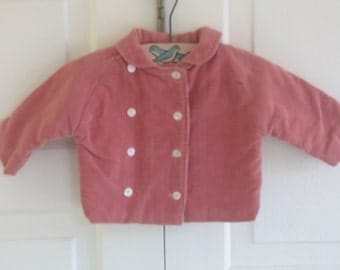 Vintage Child Girl Jacket Coat Infant Toddler Baby Pink Corduroy Fall Autumn