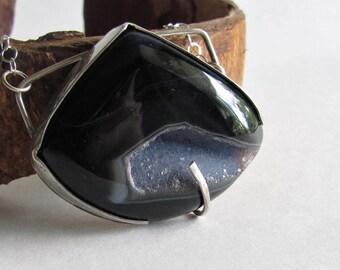 Black Agate Druzy Necklace - Druzy Jewelry - Natural Black Agate - Statement Necklace - Statement Jewelry