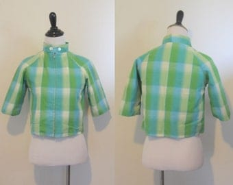 1960s 60s Vintage Blue and Green Plaid Cropped Jacket