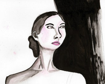 Dare, Print From Original Pen and Ink Watercolor Fashion Illustration