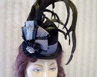 Black Steampunk Mini Top Hat Cosplay Hat Alice in Wonderland Hat Victorian Mini Top Hat Halloween Hat