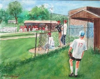 Original Watercolor * Sport Painting * Baseball * Softball * NUMBER 17  * Art by Rodriguez