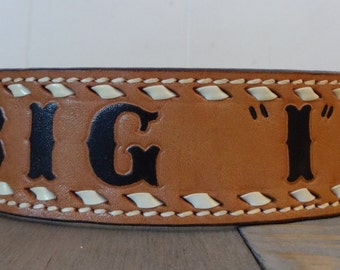 """Vintage Tooled Tex Tan Leather Belt for Western Wear It Says """"Big I"""" for The Guy with a Big Ego or First Initial I"""