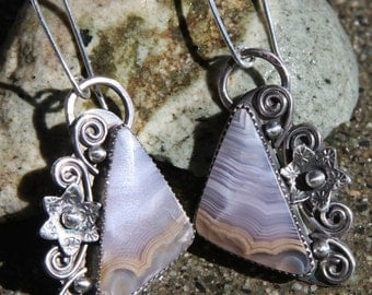 coyamito agate and sterling silver metalwork earrings