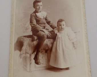 Antique Cabinet Card Siblings  CC735