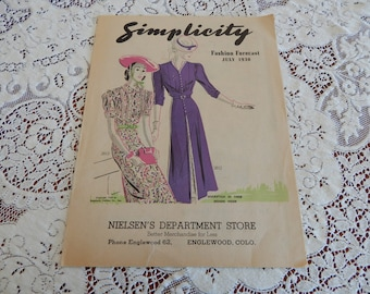 July 1938 Fashion Forcast - Simplicity - 8 Pg. Pattern Pamphlet - Great Condition