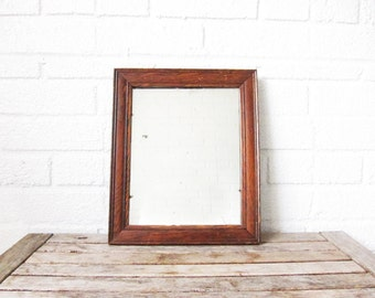 Vintage Shaving Mirror - Small Oak Mirror - Traditional Foyer Mirror Wood Frame - Ready to Hang Oak Wood Vanity Mirror
