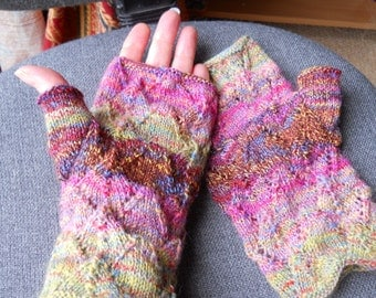 Lovely lacy  multi coloured ladies fingerless gloves  lacy multi coloured  mittens