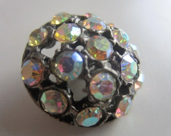 Vintage Button -  extra large and beautiful and unique domed design, silver finish metal, iridecent rhinestone embellished, (lot july 667)