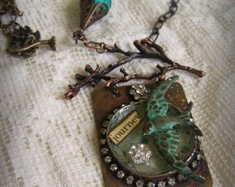 Artisan Bezel Necklace Handmade Soldered Bezel Vintage Gypsy Necklace Bird Necklace Vintage Bird Vintage Mixed Media Altered Necklace