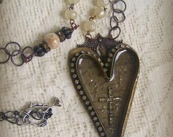 Assemblage Necklace Handmade Soldered Bezel Vintage Gypsy Necklace Vintage Heart  Necklace Vintage Crucifix  Altered Rhinestone  Necklace