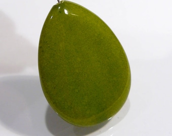 Green Jade Smooth Briolette Gemstone Pendant Bead.....30x40mm....1 Bead
