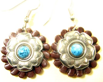 Western Leather Earrings with Traditional Flower Conchos-leather and concho jewelry for cowgirls, trail riders and western fashion