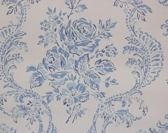 1960s Vintage Wallpaper Blue Rose Bouquets and Scrolls on Light Blue by the Yard