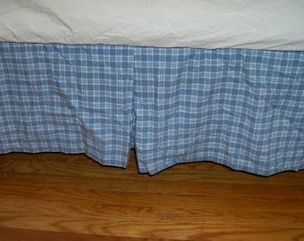 Pottery Barn Blue Plaid Full Bed Skirt Dust Ruffle