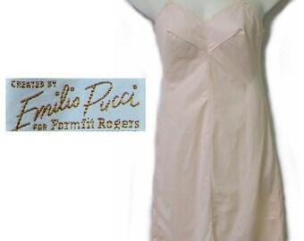 Emilio Pucci blush pink nylon full slip large size 14