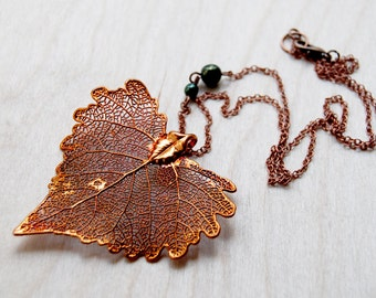 Large Fallen Copper Cottonwood Leaf Necklace | Electroformed Jewelry | Copper Leaf Necklace | Nature Jewelry | REAL Cottonwood Leaf Necklace